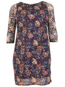 Samya Plus Size Boat Neck Floral Lace Dress
