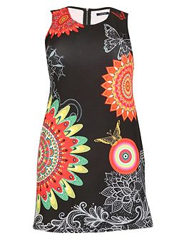 Plus Size Abstract Print Fit&Flate Dress
