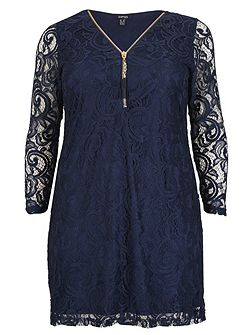 Plus Size Laced Zip-Front Dress