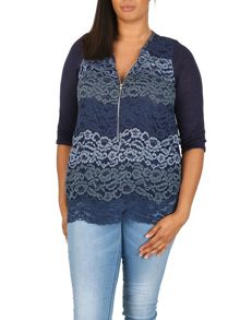 Samya Plus Size Contrast Lace Top