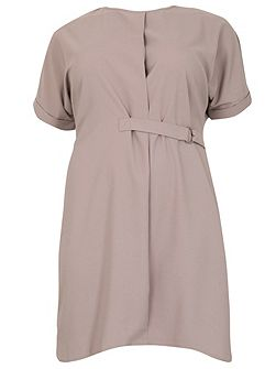 Plus Size D-Belted Shirt Dress
