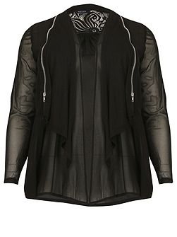 Plus Size Zip Detail Tie Front Blouse