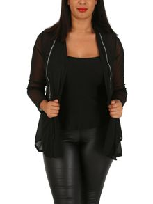 Samya Plus Size Zip Detail Tie Front Blouse