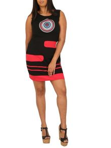 Samya Plus Size Target Print Shift Dress