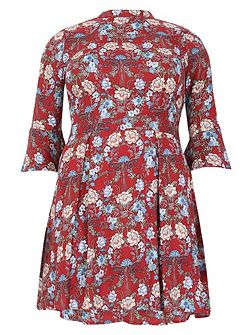Plus Size Stand Collar Floral Dress
