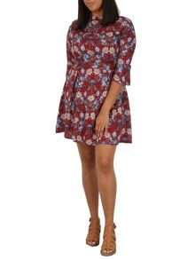 Samya Plus Size Stand Collar Floral Dress