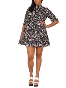 Samya Plus Size Floral Vintage Dress