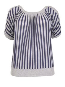 Samya Plus Size Cold Shoulder Stripe Top