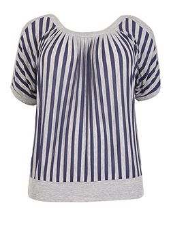 Plus Size Cold Shoulder Stripe Top