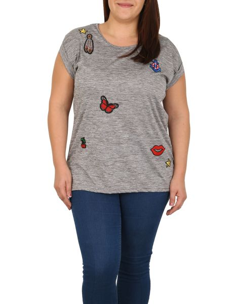 Samya Plus Size Patched T-shirt Top