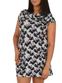 Samya Plus Size Swan Print Button Detail Dress