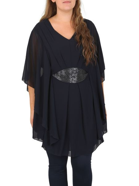 Samya Plus Size Batwing Tunic With Sequins