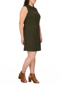 Samya Plus Size Sleeveless Corduroy Dress