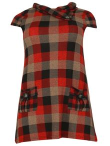 Samya Plus Size Cowl Neck Check Dress