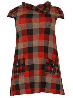 Plus Size Cowl Neck Check Dress