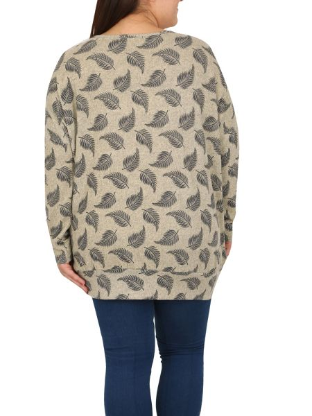 Samya Plus Size Leaf Print Top