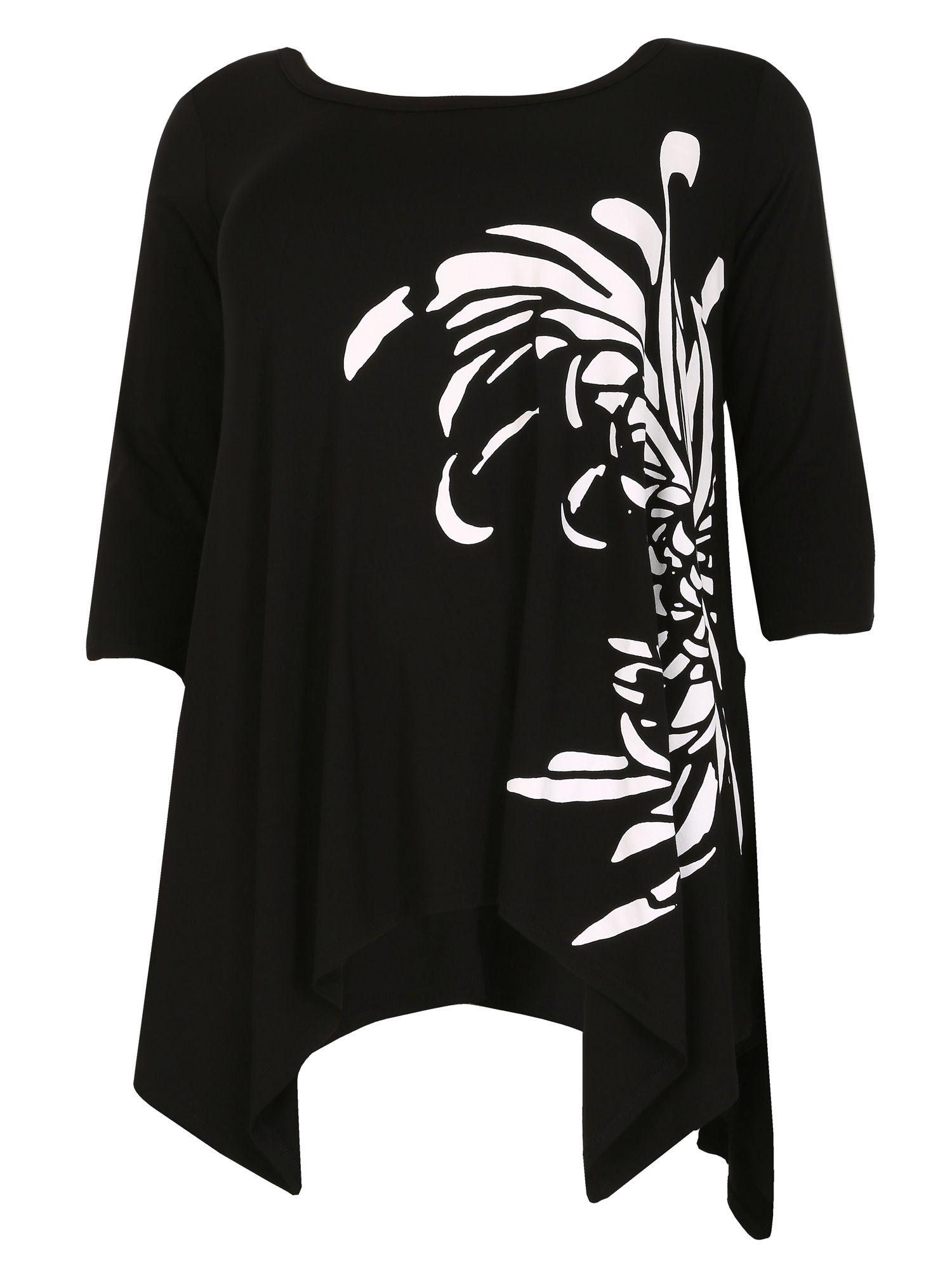 Samya Plus Size Asymmetric Print Tunic Top, Black