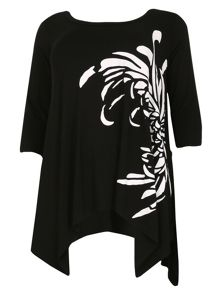 Samya Plus Size Asymmetric Print Tunic Top
