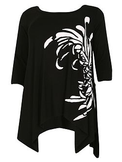 Plus Size Asymmetric Print Tunic Top