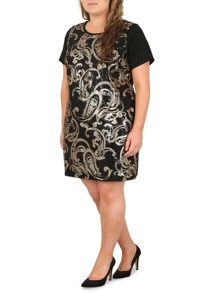 Samya Plus Size Paisley Sequin Detail Dress