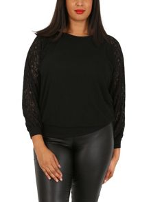 Samya Plus Size Lace Detail Casual Top