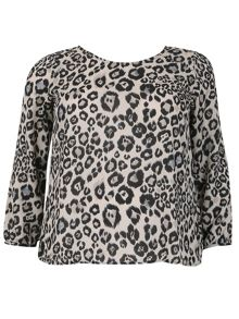 Samya Plus Size Leopard Print Reveal Back Top