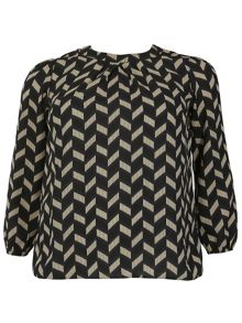 Samya Plus Size Retro Style Pleat Top