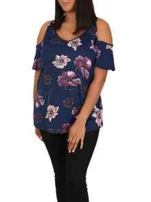 Samya Plus Size Cold Shoulder Floral Top