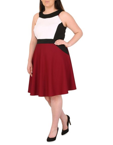Samya Plus Size Block Colour Panel Dress