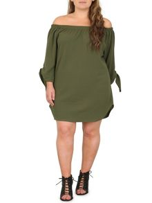 Samya Plus Size Bardot Dress With Tie Detail