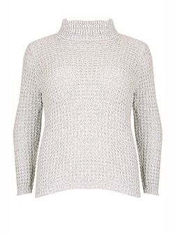Plus Size Cable Knit Roll Neck Jumper