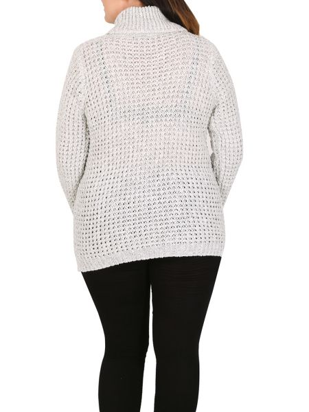 Samya Plus Size Cable Knit Roll Neck Jumper