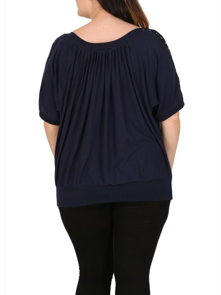Samya Plus Size Cold Shoulder Blouson Top