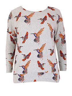 Plus Size Knitted Bird Print Top
