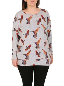 Samya Plus Size Knitted Bird Print Top