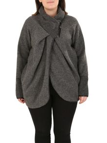 Samya Plus Size Chevron Knit Contrast Cardigan
