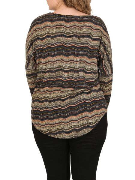 Samya Plus Sized Chevron Batwing Top