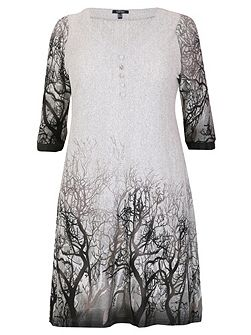 Plus Size Faded Forest Print Dress