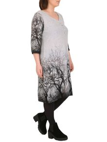 Samya Plus Size Faded Forest Print Dress