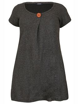Plus Size Oversized Button Detail Top