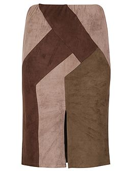 Plus Size Faux Suede Panel Skirt