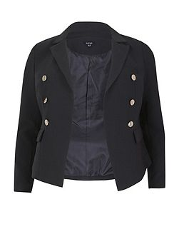 Plus Size Fitted Classic Buttoned Jacket