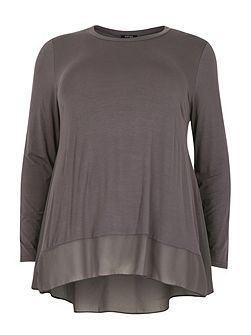 Plus Size Dip Back Top with Sheer Panel