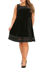 Samya Plus Size Sheer Trim Fit `N` Flare Dress