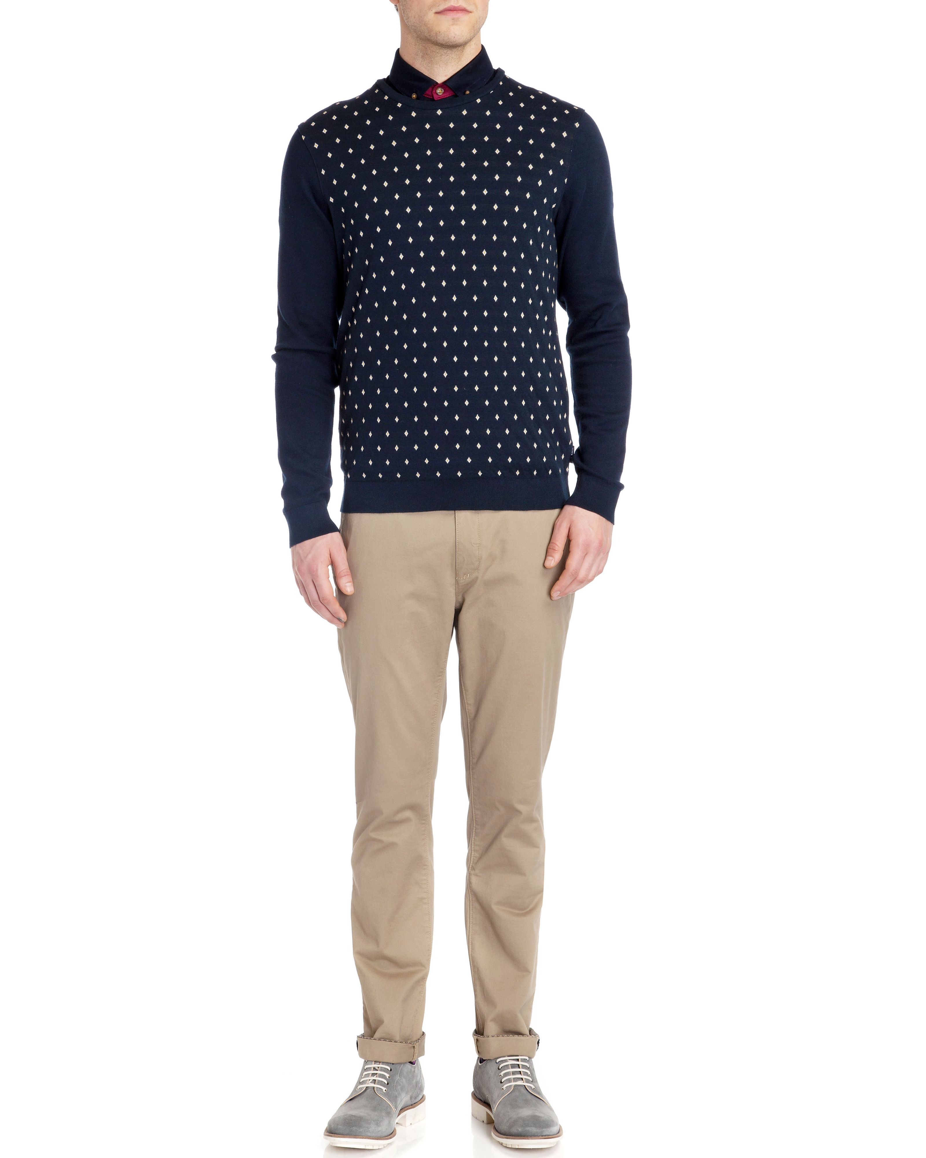 Dedwood diamond jacquard crew neck