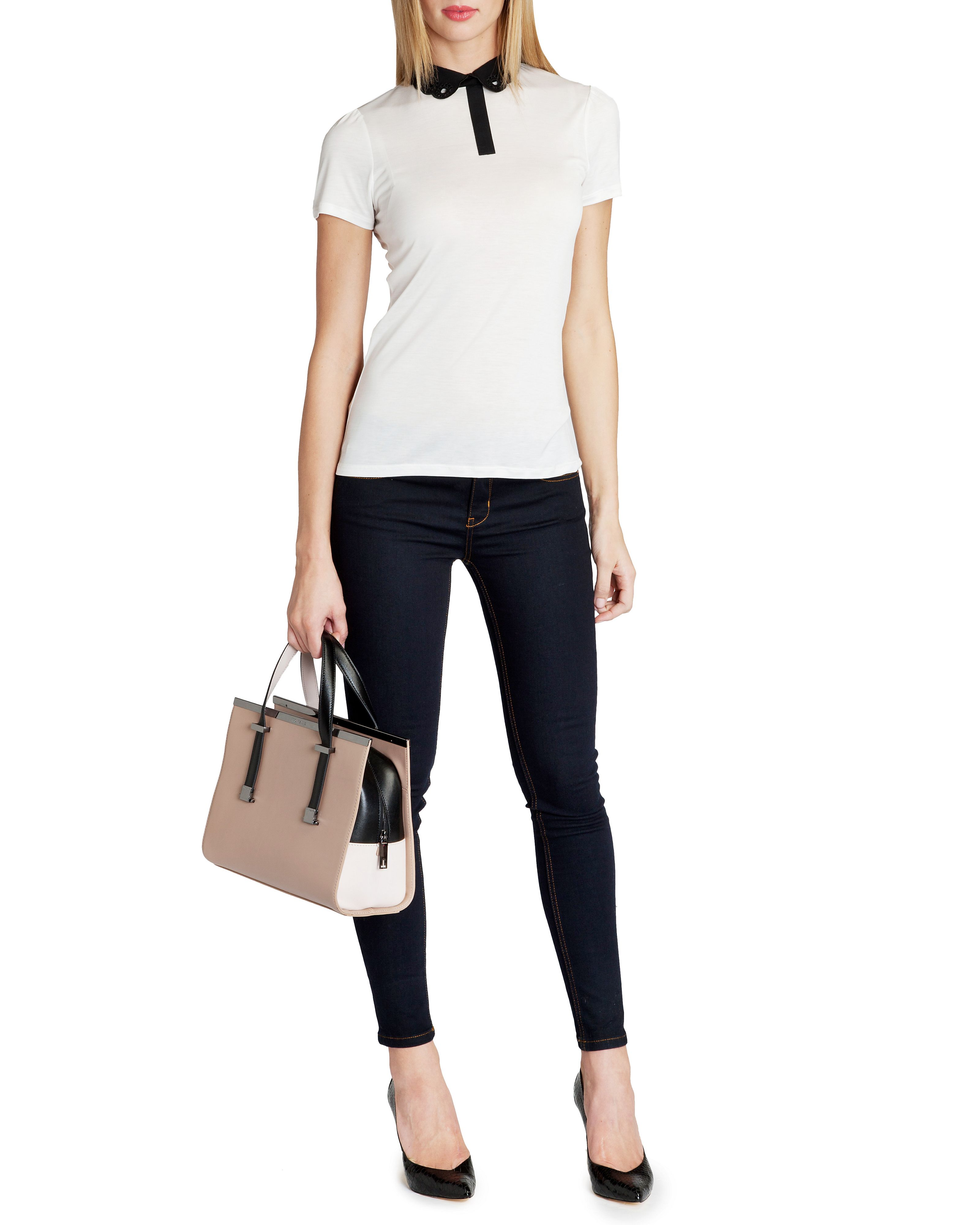 Mistey cut out collar top