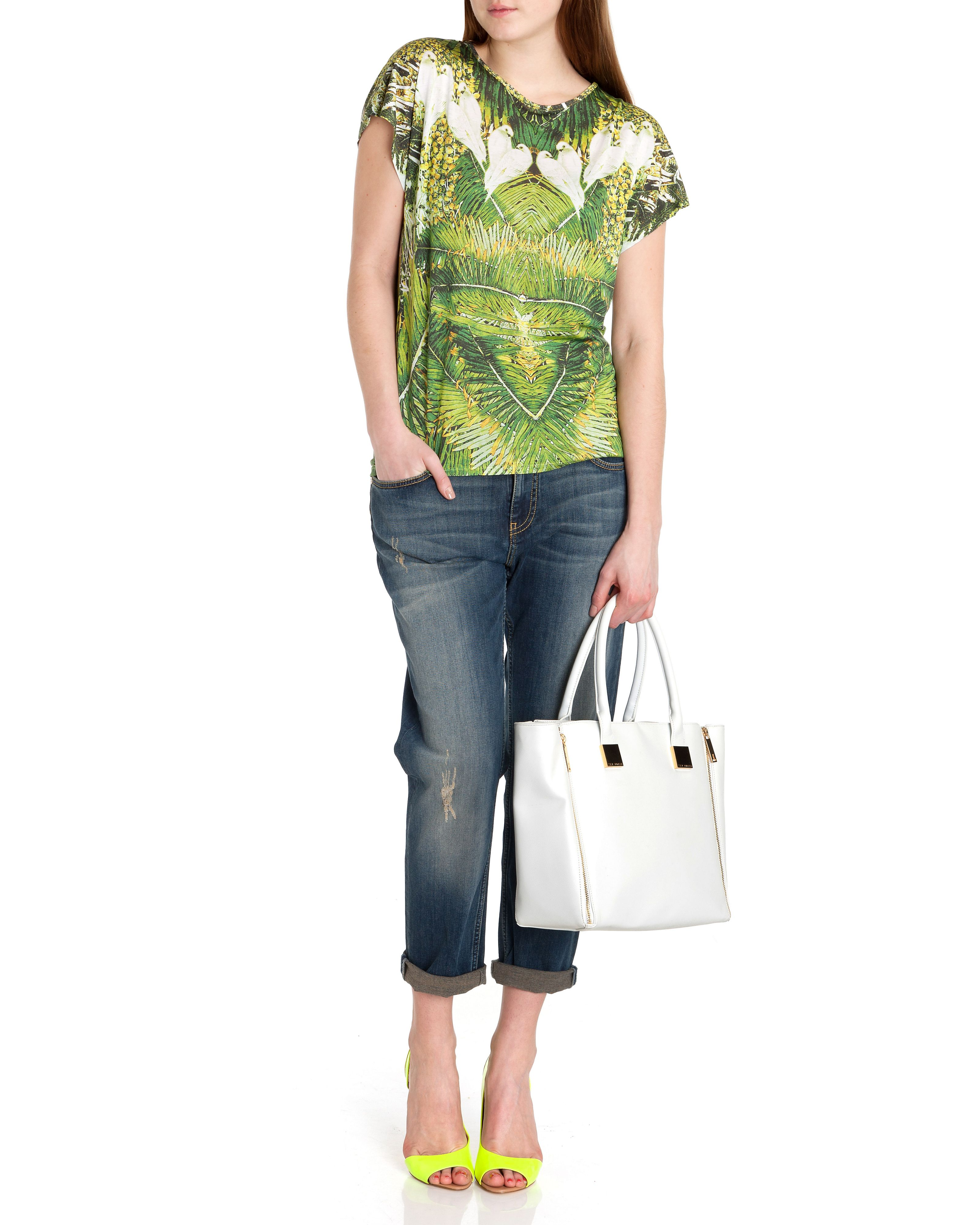 Dacce tropical dove printed top