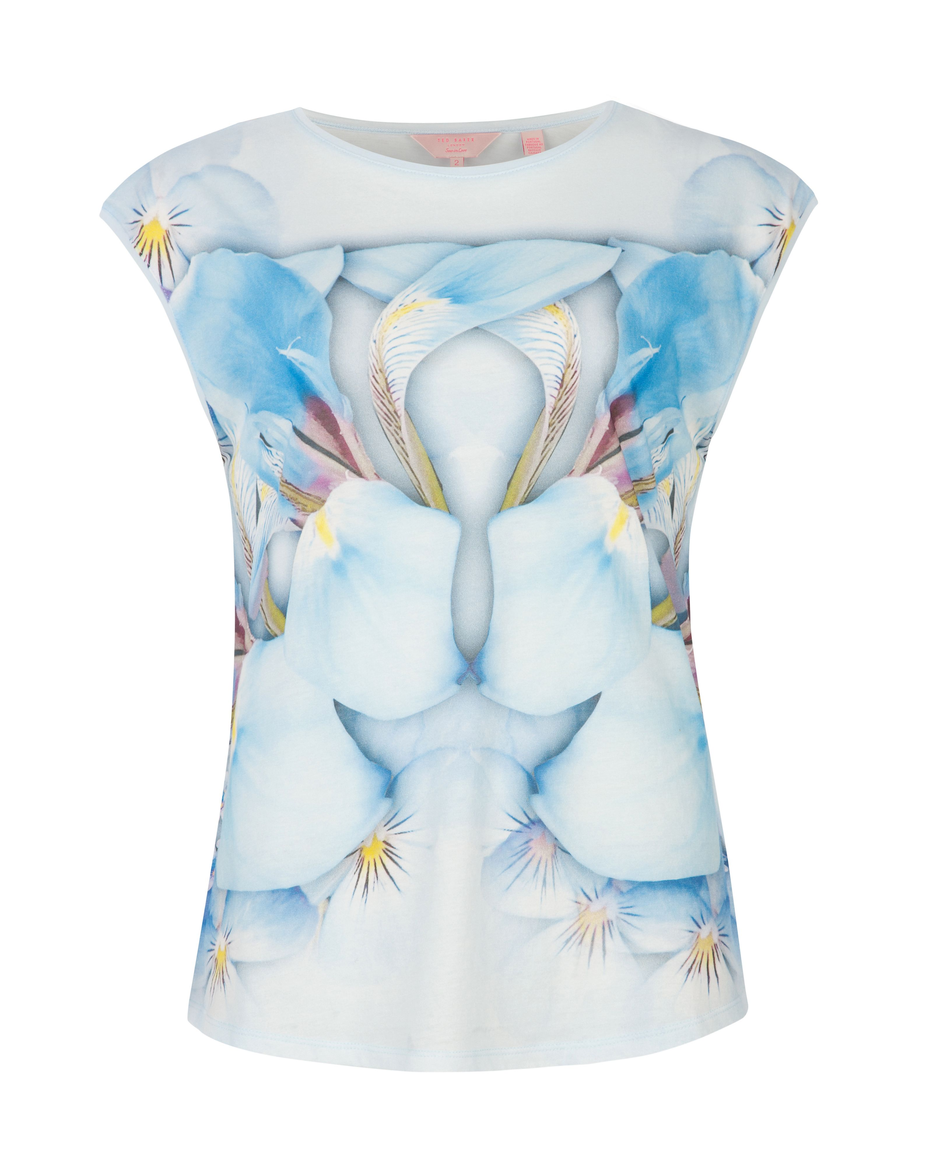 Preva photo pansy print top