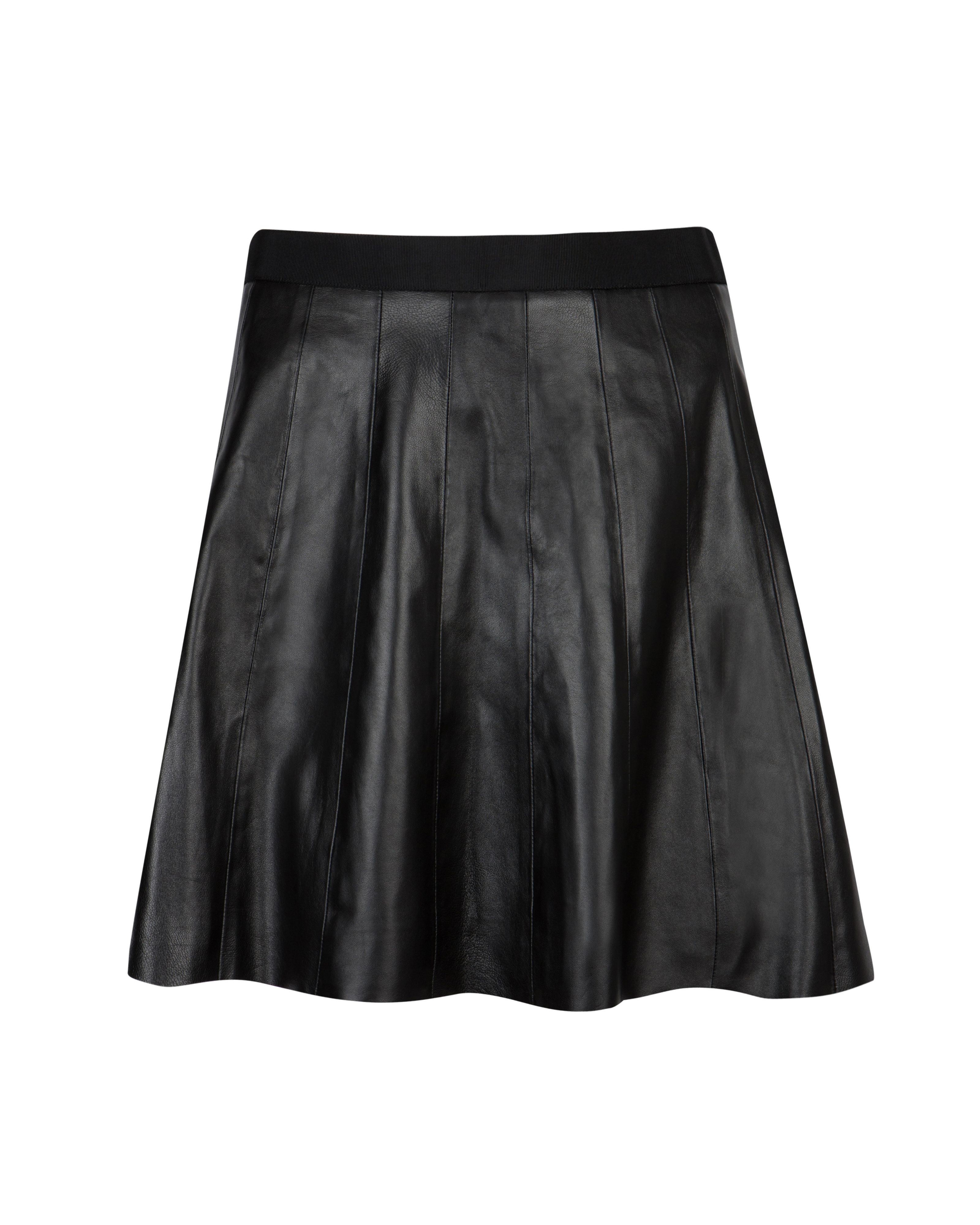 Qiana full leather panel skirt