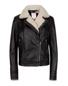 Sheerla Leather shearling trim jacket